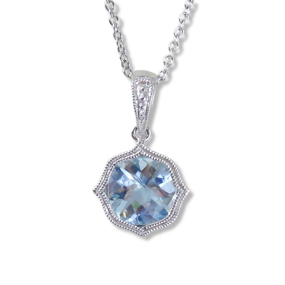 Aquamarine pendant in 14 kt. white gold. Stanton Color