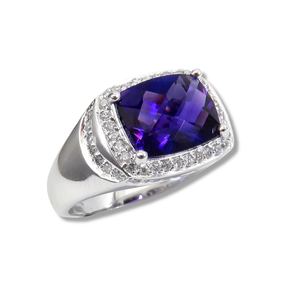 Amethyst and diamond 14 kt. white gold ring.