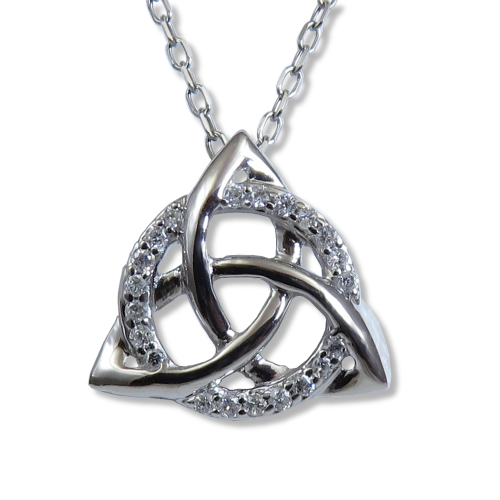 Celtic trinity knot pendant in 14 kt. white gold with diamonds.