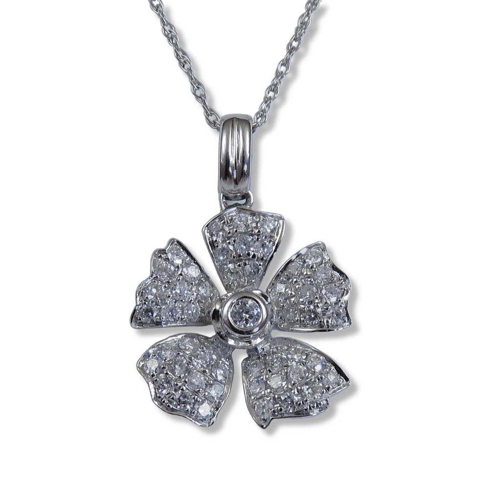 14 kt. white gold flower pendant encrusted with diamonds.