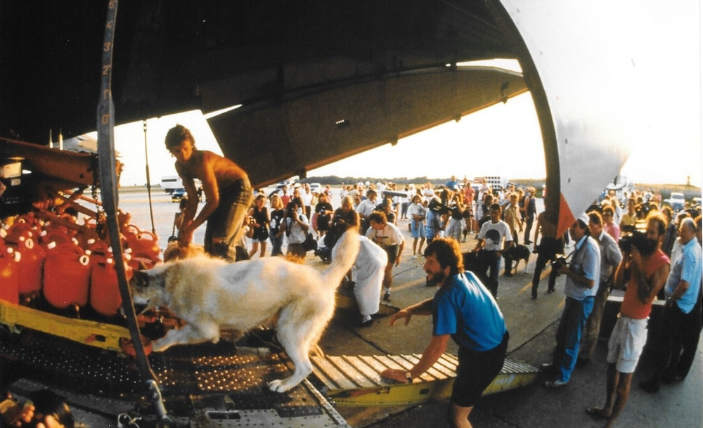 Dogs are loaded onto the Illyushin 76 in Minneapolis, MN. July 16, 1989. Photo © Will Steger