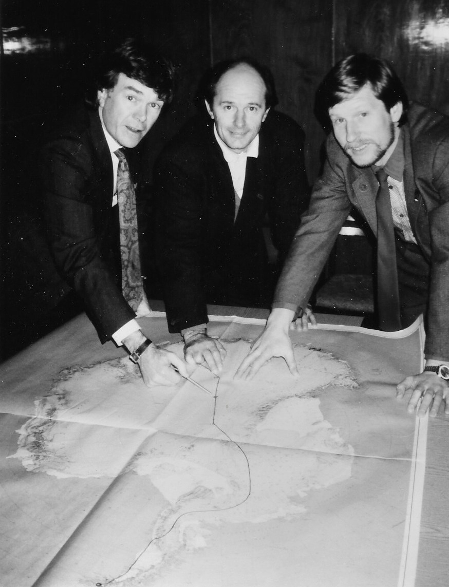 Will Steger, Jean-Louis Etienne and Victor Boyarsky plan the route at the Moscow meeting, December 1987. Photographer unknown.