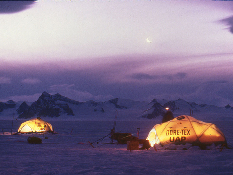 Sponsors Gore-Tex and UAP appeared on the expedition tents. Photo © Will Steger