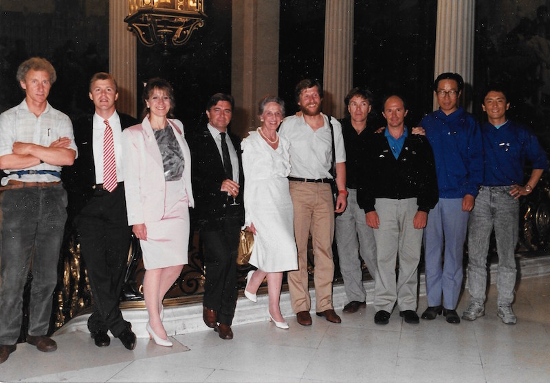 Gore-Tex event in Paris, April 1989. From left: Geoff Somers, Jack Dougherty, name unknown, Bernard Guedon (Gore-Tex France), Vieve Gore, Victor Boyarsky, Will Steger, Jean-Louis Etienne, Qin Dahe, Keizo Funatsu. Photographer unknown.