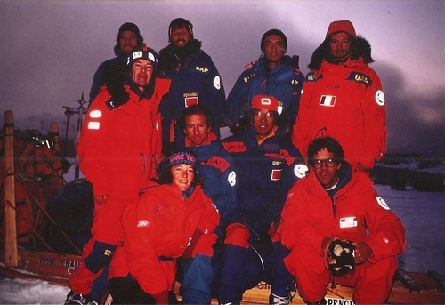 Trans-Antarctica team and crew pose on King George Island. Front: Jennifer Gasperini, Christian de Marliave (Criquet); 2nd row: Will Steger, Geoff Somers, Qin Dahe; back: John Stetson, Victor Boyarsky, Keizo Funatsu, Jean-Louis Etienne. Photo © Will Steger