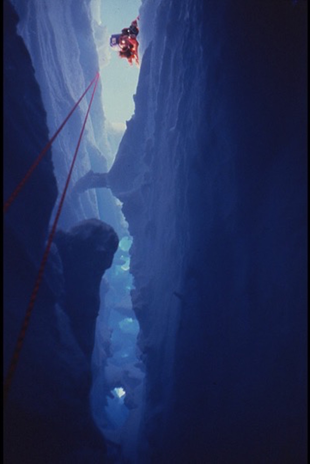 View from inside a crevasse looking up. Photo © Will Steger