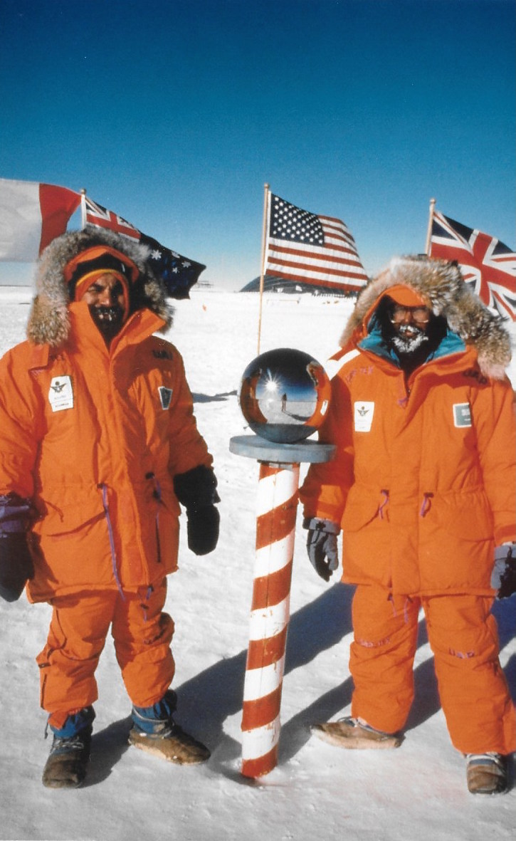 First Saudi Arabian citizens to the South Pole, Trans-Antarctica honorary team members Mustafa Moammar and Ibrahim Alam.  ©Will Steger photo by Gordon Wiltsie