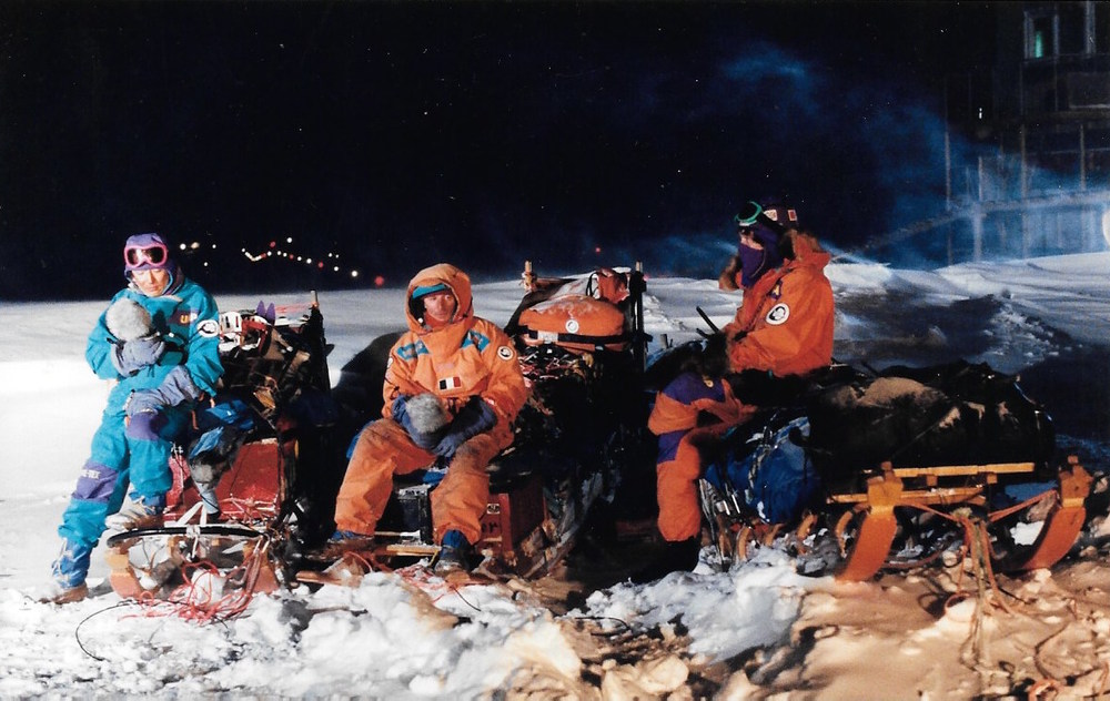 Keizo Funatsu, Jean-Louis Etienne, Will Steger doing live interviews outside the Mirnyy base, as part of the first live international broadcast from Antarctica. March 4, 1990. Photo: Jacqui Banaszynski