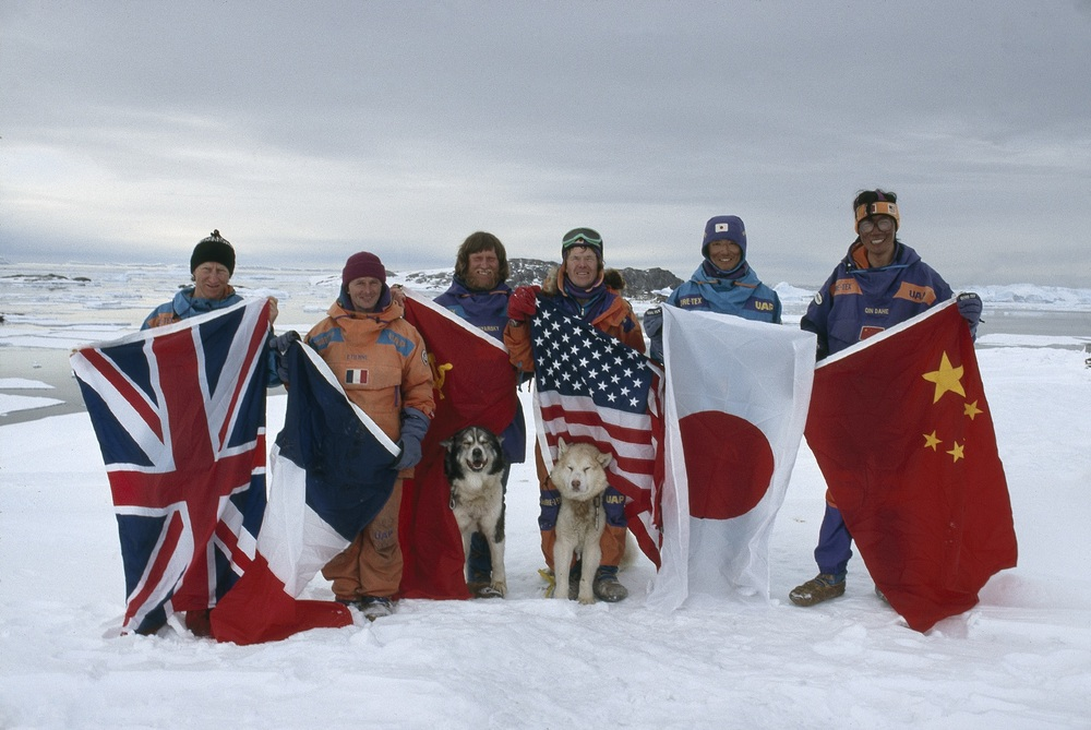 Trans-Antarctica team poses at the end of the seven-month expedition across Antarctica. March 3, 1990. ©Trans-Antarctica, photo by Per Breiehagen