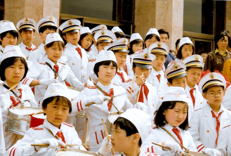 Children's marching bands accompanied the Trans-Antarctica Expedition events throughout China, May 1990. Photo: Cathy de Moll