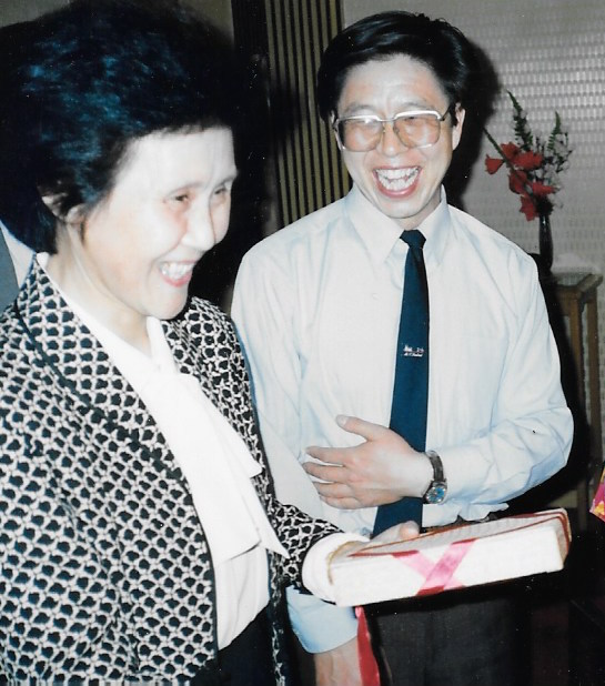 Mr. Li translates for a Trans-Antarctica reception line. Beijing, China. May 1990 Photo: Cynthia Mueller