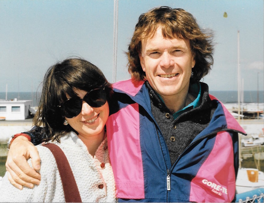 Cathy de Moll and Will Steger attend the christening of the UAP in Le Havre, France. April 1989. Photo: Cynthia Mueller