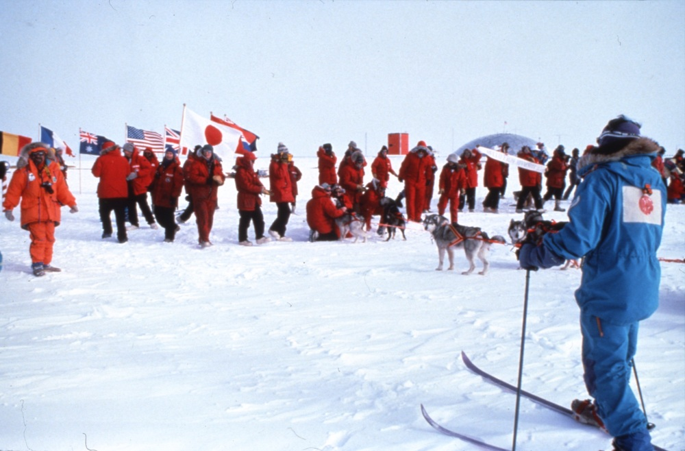 International Trans-Antarctica Expedition arrives at the South Pole, December 11, 1989. ©Will Steger Photo by Gordon Wiltsie