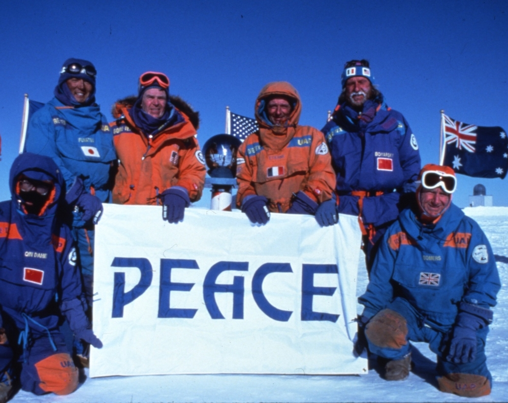 International Trans-Antarctica Expedition at the South Pole, half-way through their expedition, sent an urgent message to world leaders about renewing the Antarctic Treaty. Photo © Will Steger-Gordon Wiltsie