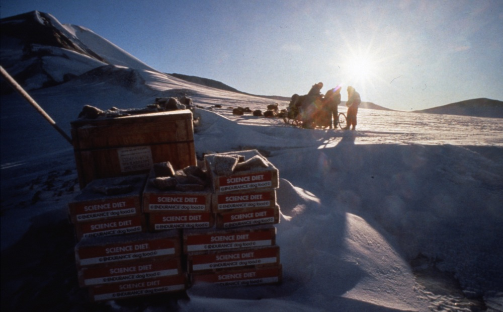 Caches were placed every 200 miles for the first half of the expedition, buried in snow, by the time the team arrived to dig them up. Photo © Will Steger