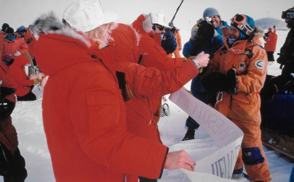 American South Pole base staff welcome the International Trans-Antarctica Expedition as the cameras roll. December 11, 1989.  ©Will Steger Photo by Gordon Wiltsie