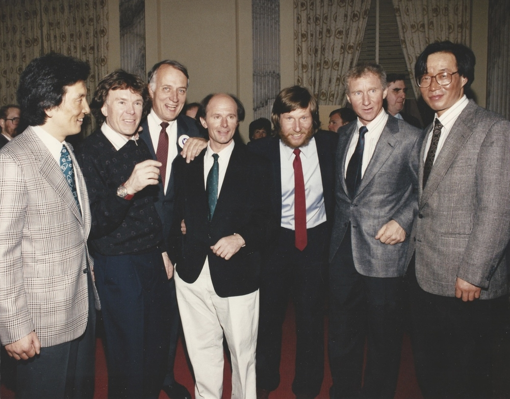 Trans-Antarctica team attend a reception hosted by the six representative ambassadors at the U.S. Senate. March 1990. Photographer unknown