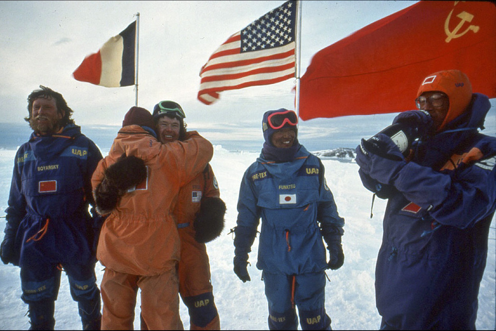 Emotional end of 1990 International Trans-Antarctica Expedition, March 3, 1990 ©Trans-Antarctica, photo by Per Breiehagen