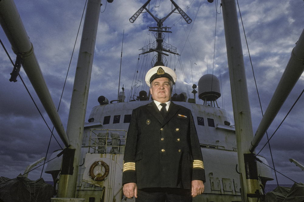 Vladimir Ivanovich Uzolin,  Captain of the USSR  Professor Zubov , March 1990.©Trans-Antarctica, photo by Per Breiehagen