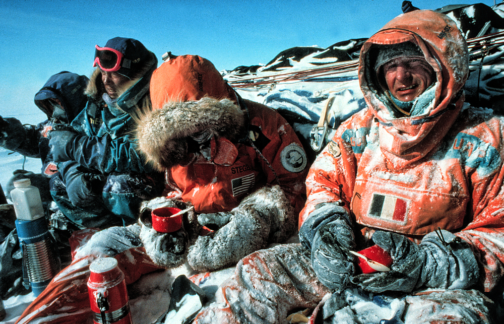 The expedition's Gore-Tex clothing, designed by Mark Erickson and Will Steger and furnished by The North Face, needed to protect the team from windchill as low as -100 F, keeping them warm both as they skied and as they stopped for lunch. ©Trans-Antarctica-Per Breiehagen