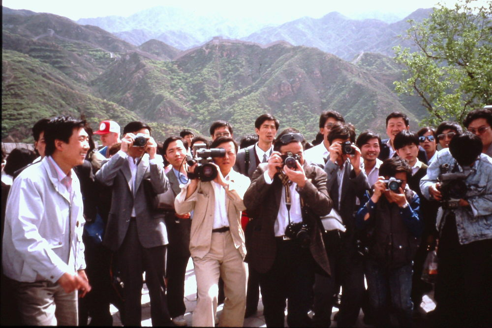 Trans-Antarctica media entourage at the Great Wall. May 1990. Photo: Cathy de Moll