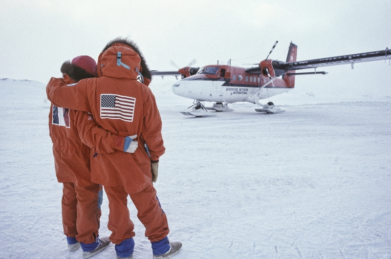 Will and Jean-Louis begin the expedition on the Larson Ice Shelf as the journalists and expedition crew  fly back to civilization. July 1989. ©Trans-Antarctica photo by Per Breiehagen