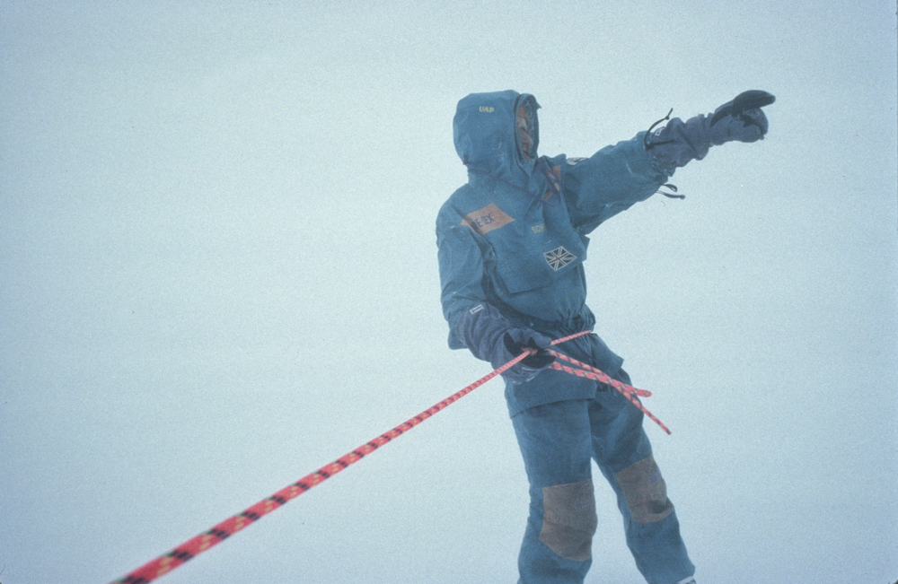 Geoff Somers spots Keizo, March 2, 1990 ©Trans-Antarctica photo by Per Breiehagen