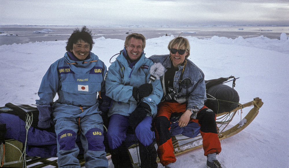 ABC Sports commentator Bob Beattie (center) visited the expedition at the beginning, middle and end of the expedition. Keizo Funatsu left, photographer Per Breiehagen, right. March 1990. ©Trans-Antarctica photo by Per Breiehagen