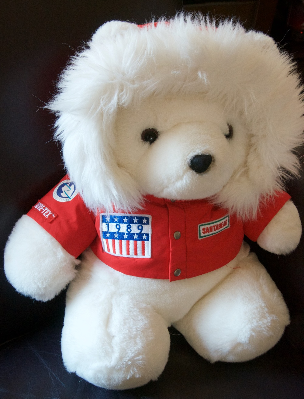 Daytons Department Store's 1989 Santa Bear wore a Gore-Tex jacket with a Trans-Antarctica logo and Gore-Tex label on its sleeve. Photo: ©Cathy de Moll