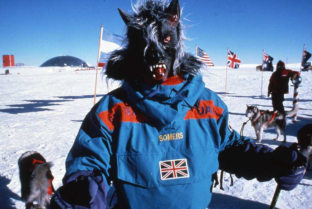 At the South Pole, Geoff Somers wears the mask he snuck into the resupply. ©Will Steger by Gordon Wiltsie