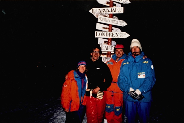 Winter night, King George Island. From left, Jennifer Gasperini, Christian de Marliave, Jean-Louis Etienne, Bernard Prud'homme (film crew). Photographer unknown