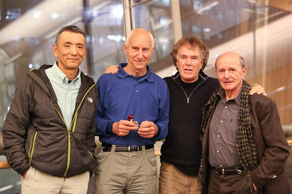 Four members of the Trans-Antarctica team gather in Minneapolis on October 22, 2015, to celebrate the launch of  Think South  and the 25th anniversary of the expedition. From left to right: Keizo Funatsu, Geoff Somers, Will Steger, Jean-Louis Etienne. Photo ©Friends of the Hennepin County Library