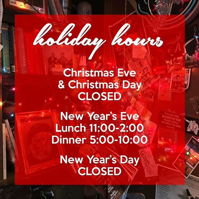 Holiday Hours: closed Christmas Eve and Christmas Day 🎄, open for lunch and dinner New Year's Eve 🥂, closed New Year's Day 😴 #fireflygrillenashville