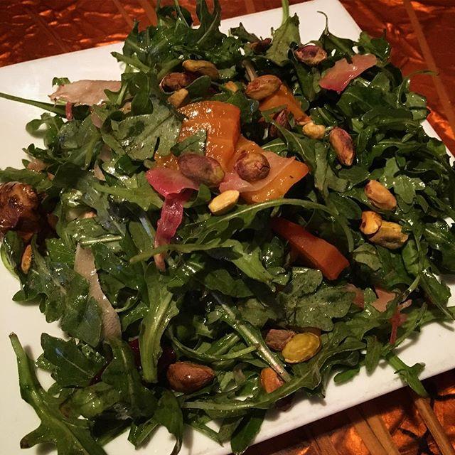 New appetizer: roasted beet, fennel, and sunchoke salad with citrus vinaigrette, pistachios, and arugula 😋 #roastedbeet #sunchoke #salad #appetizer #fireflygrillenashville #nashville #greenhills #bandywood #nashvillerestaurant #locallyowned