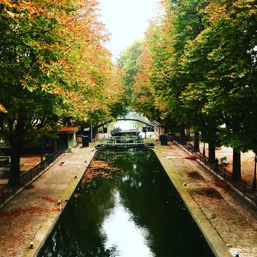 The Canal St. Martin, leaves turning gold, chestnuts on the ground.
