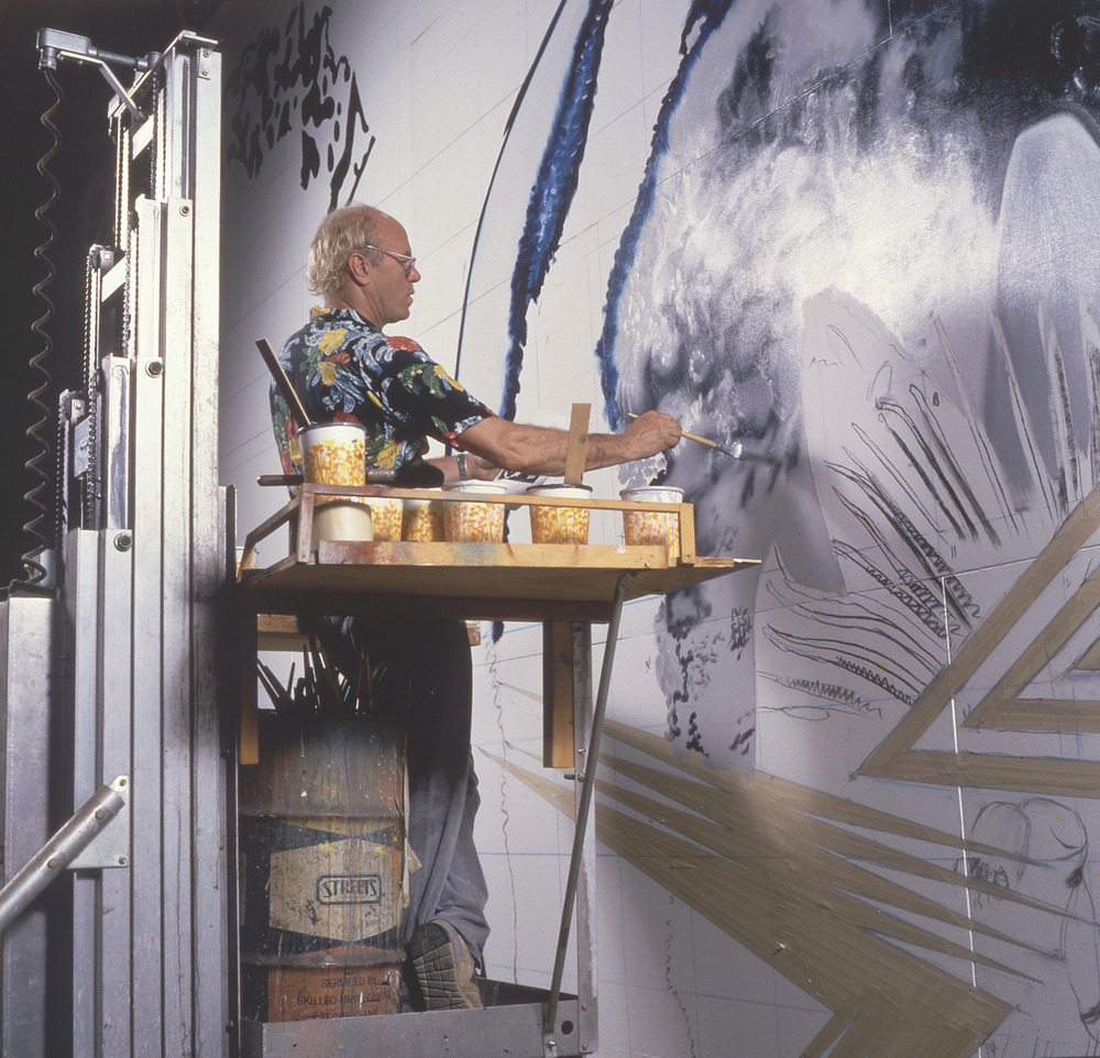 James Rosenquist working on Through the Eye of the Needle to the Anvil circa 1988.  Photo by Russ Blaise  2016 James Rosenquist / Licensed by VAGA, New York. Used by permission. All rights reserved.