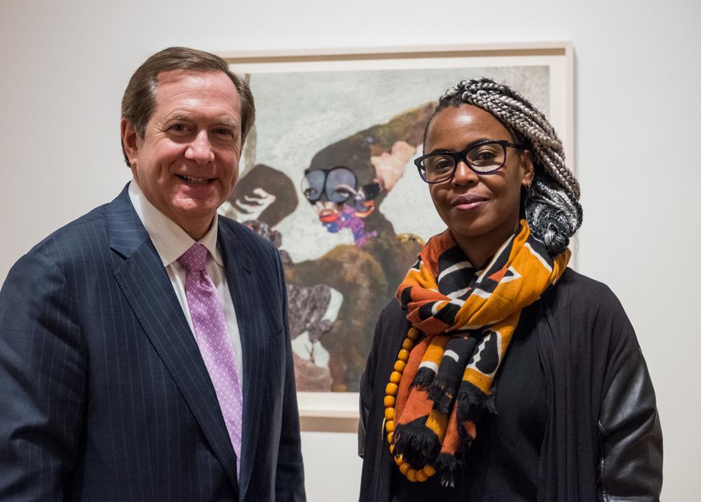 Jordan Schnitzer, philanthropist, and Wangechi Mutu, contemporary African artist and sculptor