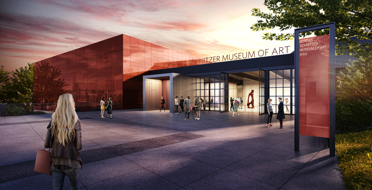 Architect renderings of the new Jordan Schnitzer Museum of Art at WSU by architect Olson Kundig, 2016.