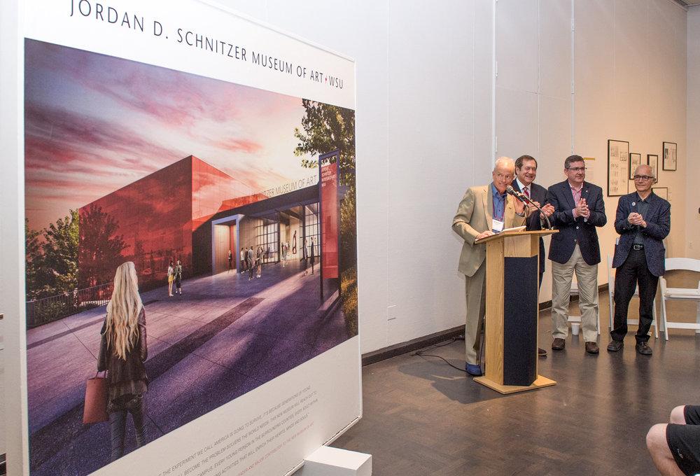 Unveiling the new Jordan Schnitzer Museum of Art/WSU; H.S. Wright III; Jordan D. Schnitzer, Philanthropist; WSU President, Kirk Schulz; Jim Olson, Olson/Kundig