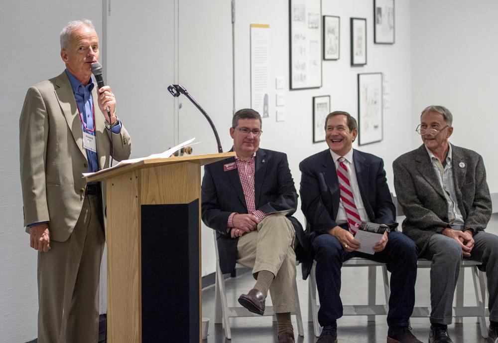 H.S. Wright, III; WSU President, Kirk Schulz; Jordan D. Schnitzer, Philanthropist; Chris Bruce, Director, Museum of Art/WSU
