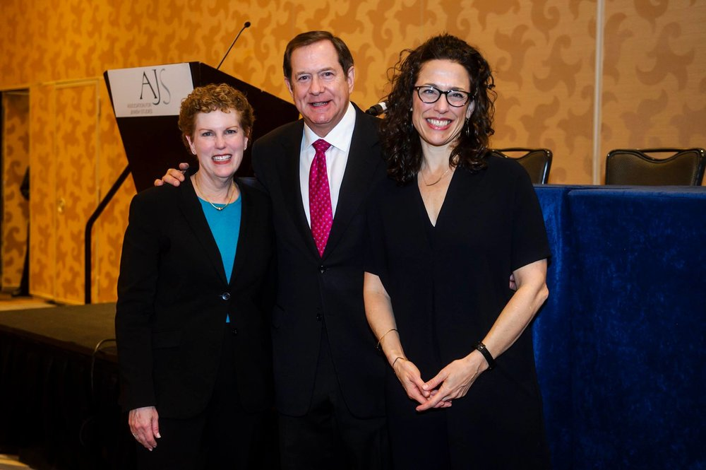 AJS President Pamela Nadell, Jordan Schnitzer, and AJS Executive Director Rona Sheramy pose for a picture at the AJS Gala Banquet.