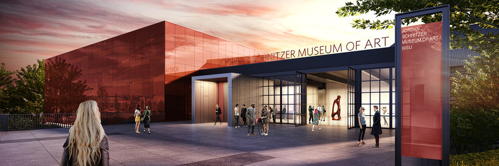 Architect renderings of the new Jordan Schnitzer Museum of Art at WSU by architect  Olson Kundig , 2016.