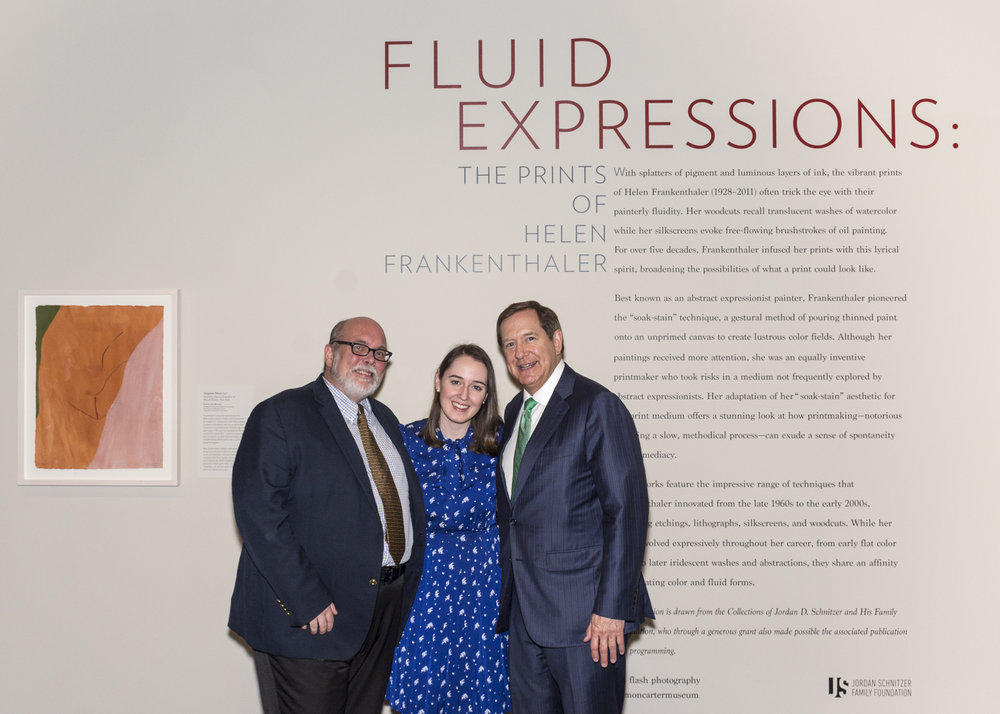 Andrew J. Walker, Director of Amon Carter Museum of Art, Michaela Haffner, Assistant Curator,  and Jordan D. Schnitzer, Collector, at the opening reception of Fluid Expressions: The Prints of Helen Frankethaler, 2017.