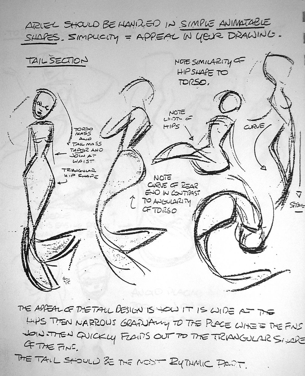 Glen Keane's character design sketches for Ariel from The Little Mermaid (1989)