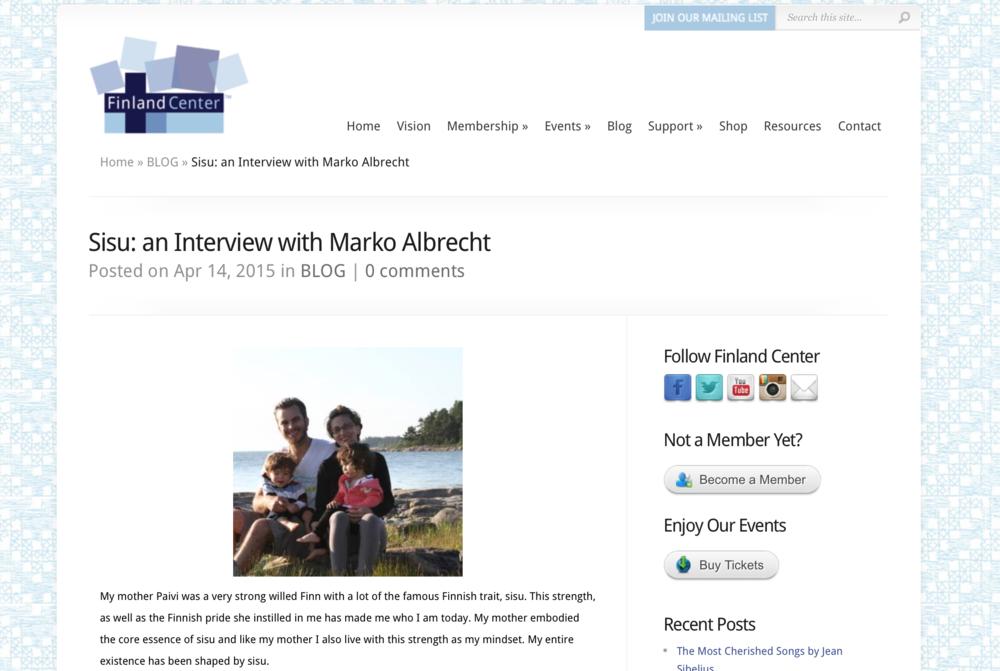 Finland Center Foundation Interview with SISU filmmaker Marko Albrecht