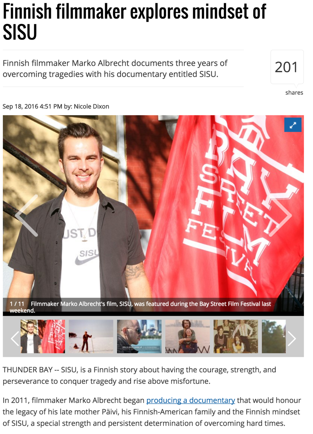 Marko Albrecht in TB News Watch for Sisu documentary