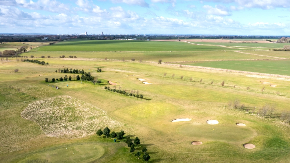aerial flyover of golf course