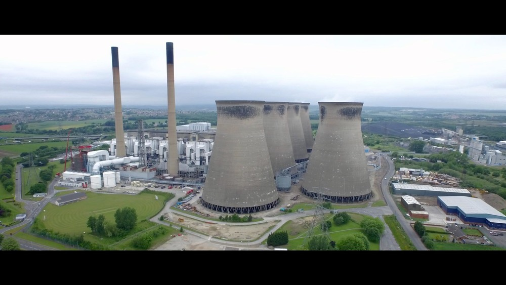 Ferrybridge power station filmed by a drone
