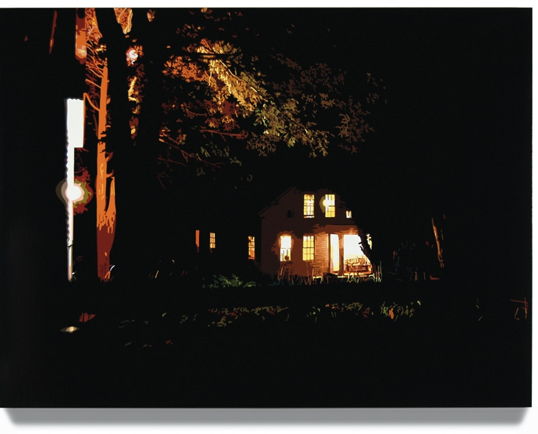 House at Night I (New Milford, CT) 2006, 45 x 60, Oil enamel on canvas