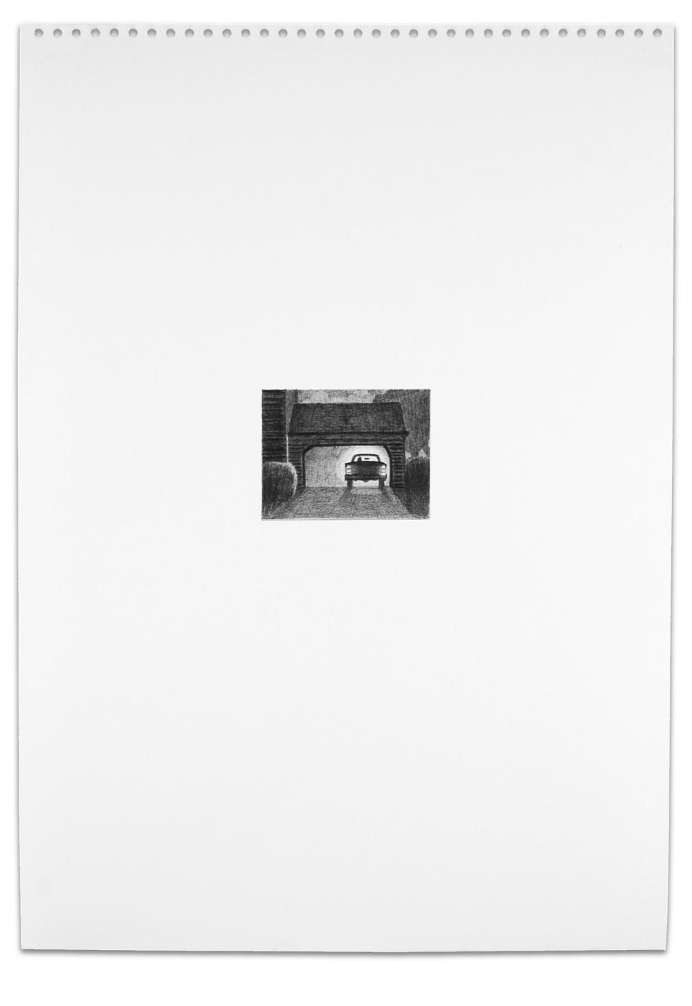 Secret (Garage), Graphite on Paper,  16.5  x 11.5